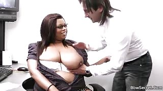 Black BBW slut fucks boss
