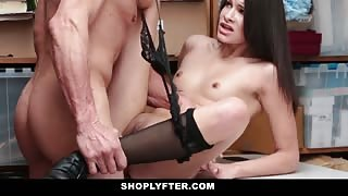 Girl in stockings riding cock