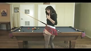Ivy Snow in plaid skirt and stockings