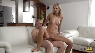 Old man fucked by young blonde