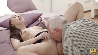 Daddy explores step daughters pussy with his tongue