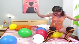Funny balloon popping with Caprice