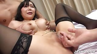 Miu Watanabe goes nasty on two cocks in threesome porn