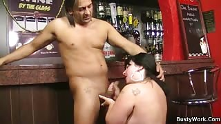 Fat barmaid fucked at work