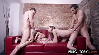 Group foursome fuck party with Haley Reed and Kenzie Reeves