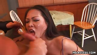 Nyomi Zen spits and gives hot wet blowjob