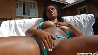 Islavoika rides that dick and gets man juice all over her big tits.