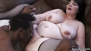 Guy pounds BBW in fishnets