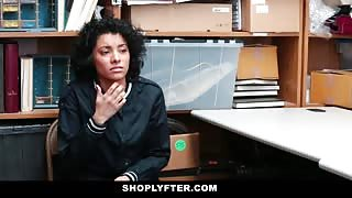 Frizzy hair babe fucked in shop store room