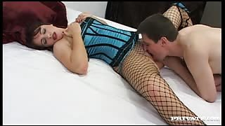 girl in fishnet stockings has sex