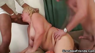 Horny guys double team drunk granny
