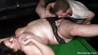 BBW slut fucked in fishnets