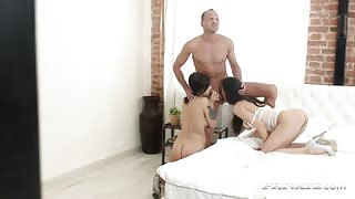 Kostina & Rebecca Share a Stud in an Anal Trio