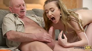 Nude girl sucking old man