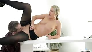 Tall blonde secretary gets distracted from work when her lover stops by the office for a deep wet blowjob and a slamming fuck in her juicy milf pussy