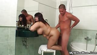 Chubby mature receives her son in law