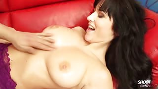 girlfriend in lace leotard is fucked on the couch