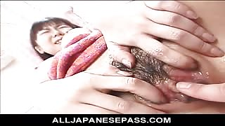 Wet and Oiled Japanese AV model has her pussy soaked with oil before being toyed
