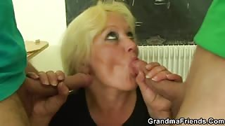 Ancient teacher cock hungry