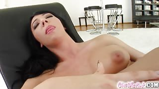 Give Me Pink Chiara's smoking body cums hard with a toy
