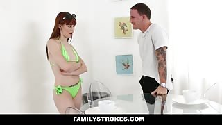 Daddy spys on teen daughter in her bikini