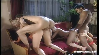 A Sexy Trio of Girls Takes on Two Guys in a Hardcore Interracial Orgy