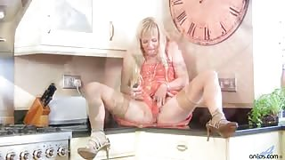 Horny blonde housewife in stockings penetrates her pussy and ass with her favorite dildo and vibrator
