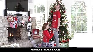 Step brother and sister fuck for Christmas fun
