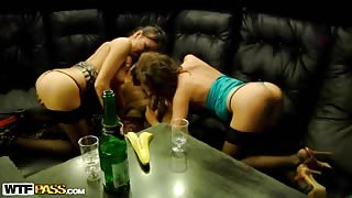 Hardcore college sex with lesbian action