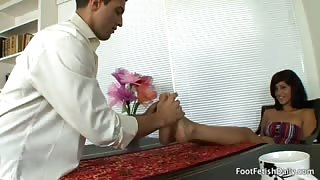 Maya's Cleaner Worships Her Feet and Fucks Her Young Pussy