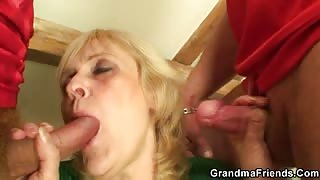Double the fun for hot grandma