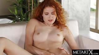 Beautiful redhead rubs her wet pussy