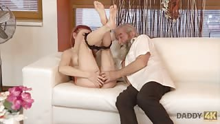 Teen has old man finger fuck her pussy