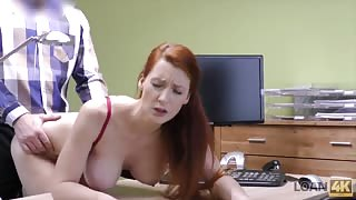 Redhead office slut fucked at work