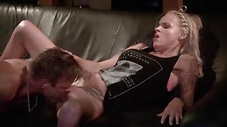 Sophie Logan couch orgasm from sex