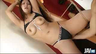 Japanese honey Saya does a shimmy dance that drives her guy to tie her up and tease her