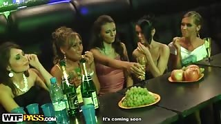 Drunk sex striptease party in the club