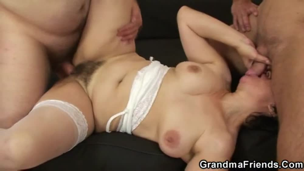 Stockings mature wife taking young dick