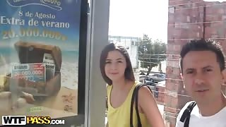 Very hot public fuck with a long-haired angel