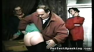 two girls punished by two men and each other.