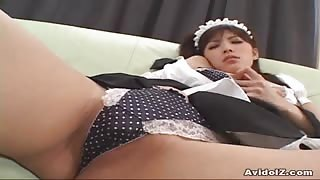 Horny Asian maid sucks her dildo and rams toys inside her hairy pussy!