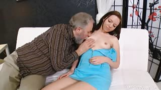 Grabbing her old lovers cock, this gorgeous young babe is ready to suck it until he cums.