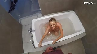 POV porn with Alexis Adams in the bath