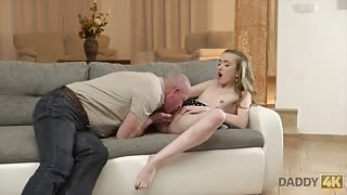 Russian girl orgasms from old man sex