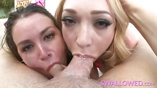 Cock gagging blowjob with Allie Haze and Lily LaBeau