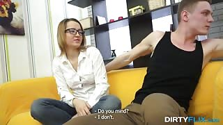 blonde glasses geek fucked on the couch
