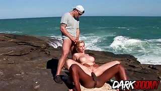 Nudist Tarra White interracial beach fuck